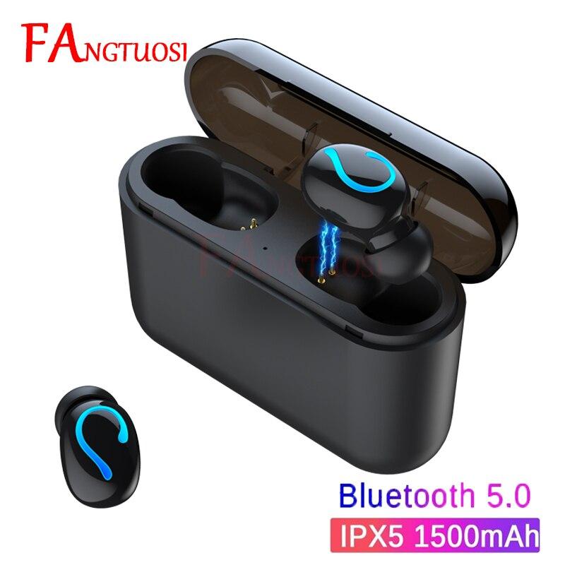 Fangtuosi novo tws 5.0 bluetooth fone de ouvido estéreo sem fio handsfree esportes fone com microfone e caixa carregamento