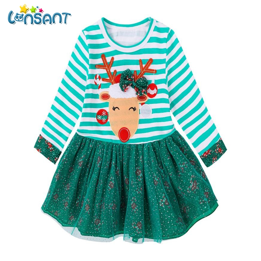 LONSANT New 2017 Fashion Christmas Outfits Clothes Baby Girls Striped Princess Dress Roupas Infantis Menina Vestidos мир деревянной игрушки лабиринт лев page 2