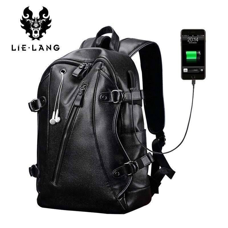 LIELANG cuir sac à dos hommes USB Charge sac à dos Anti-vol étanche ordinateur portable mâle mode sacs à dos pour Teenger PU sacs d'école