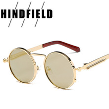 Vintage Round Steampunk Sunglasses Women Men Fashion Retro Circle Metal Steam Punk Sunglasses Men Gold Black Goggles UV400