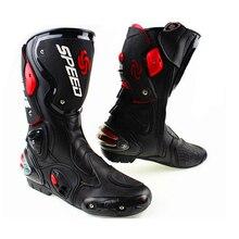Для мужчин мотоцикл защитные ботинки Pro-байкер СКОРОСТЬ обувь для верховой езды Мотокросс из микрофибры botas мотоциклетные ботинки