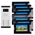 """DIYSECUR Quality 7"""" 4-Wired Apartment Video Door Phone Audio Visual Intercom Entry System IR Camera For 8 Families"""