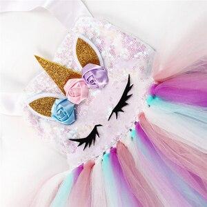 Image 5 - Pastelowe cekiny dziewczęce jednorożec Tutu sukienka zestaw księżniczka kwiaty sukienka dziewczęca na przyjęcie urodzinowe dzieci Halloween kostium jednorożca