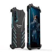 יוקרה באטמן Kickstand עמיד הלם מקרה עבור Huawei Honor 20 כבוד 20i 20Pro אלומיניום פגוש עור שריון מתכת כיסוי אחורי מקרה