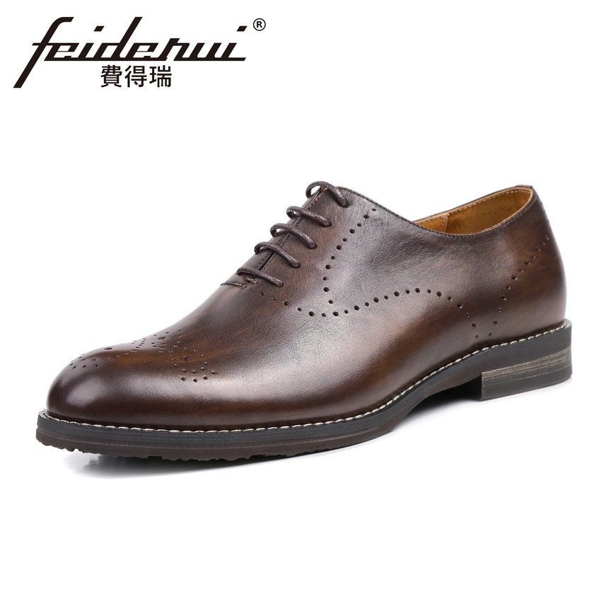 цены Vintage Genuine Leather Men's Handmade Oxfords Round Toe Lace-up Man Breathable Party Flats Formal Dress Designer Shoes KUD10