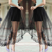 Womens Sexy Lace Mesh Skirts Ladies Vintage High Waist Plain See-Through Tulle Skirt Elastic Elegant Casual Black White Skirt see through stripe mesh skirt
