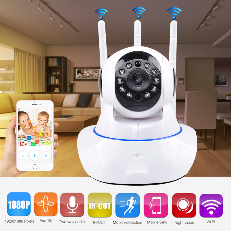 CCTV Surveillance Wifi Wireless Security HD 1080P IP Camera P2P Three Antenna Pan/Tilt 2 Way Audio IR Night Vision Baby Monitor