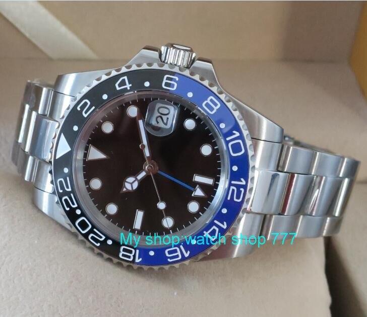 b5ec88184e3 40mm PARNIS GMT Vidro de Safira azul   Preto Painel de cerâmica Relógio Dos Homens  movimento Automático Auto Vento relógios Mecânicos G5 em Relógios ...