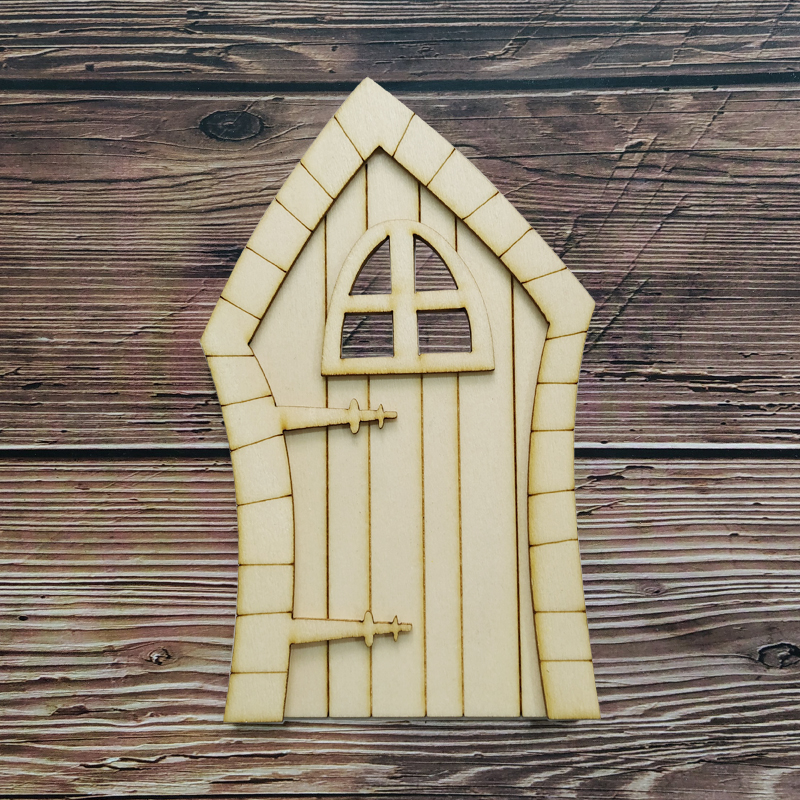 6pcs 3D DIY Wooden Fairy Door Garden Craft Embellishments Decoration Favors Home Decor Hobby Gift