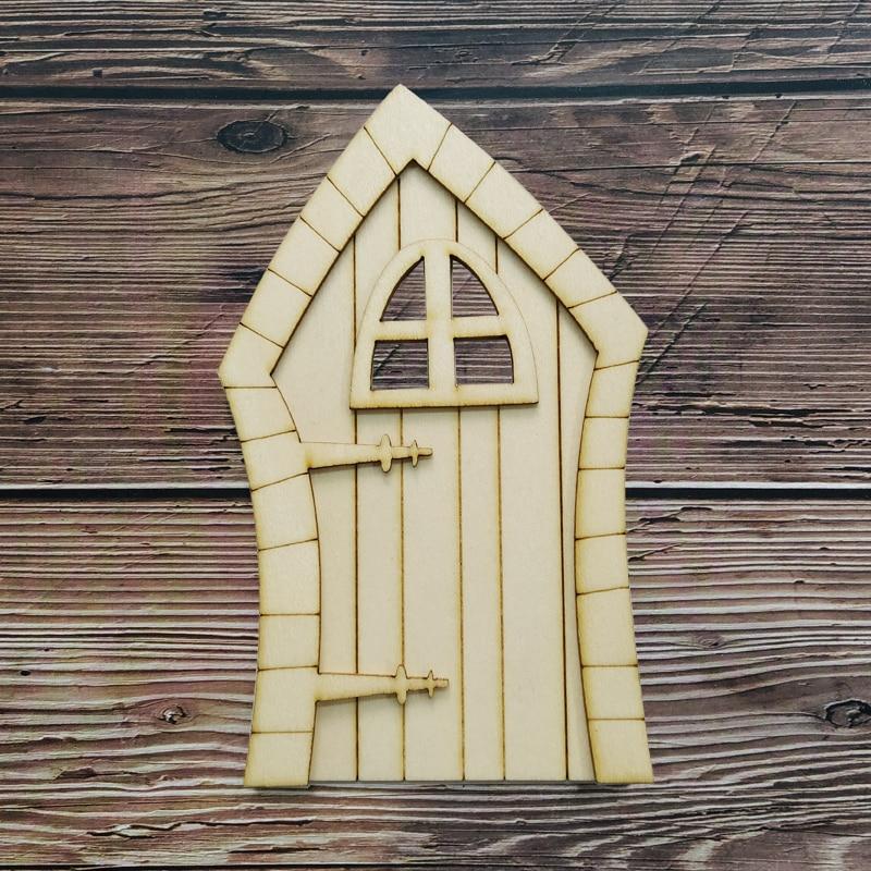6pcs 3D DIY Wooden Fairy Door Garden Craft Embellishments Decoration Favors Home Decor Hobby Gift