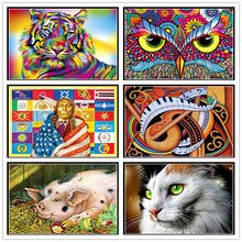 Full Round Diamond 5D DIY Painting Colorful Animals 3D Cross Stitch Mosaic Home Decor
