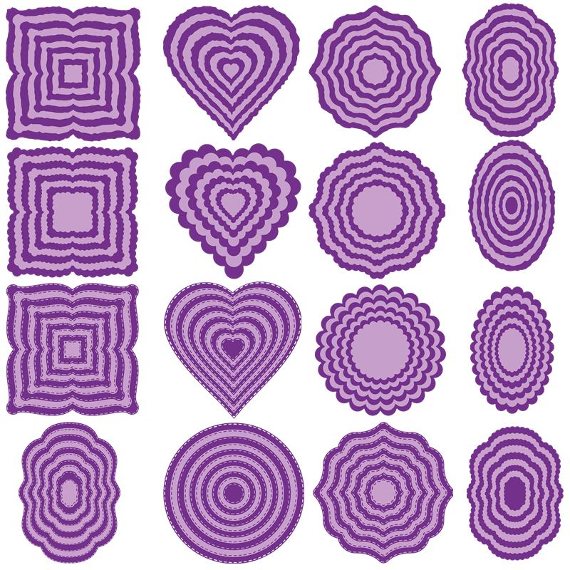 Nested Heart Circle Oval Square Frame Set Metal Cutting Dies for Scrapbooking DIY Album Paper Card Making Decoration New 2019