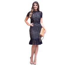 Elegante Negro Lace Patchwork Nueva Llegada de La Manera de las mujeres Celebrity Sirena Longitud de La Rodilla del Partido de Tarde Del Vestido Ocasional 301057