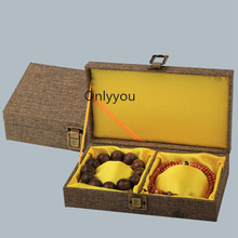 High End Rectangle Soft Linen Storage Box for Bangle Wood Double Bracelet  Jewelry Collection Packaging 21x12x5 cm 1pcs