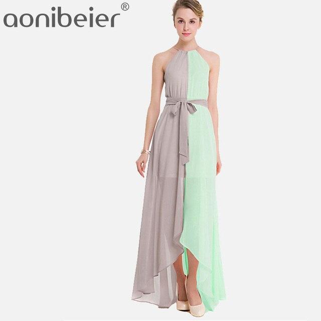 39ecea112f3 QIUXUAN Fashion Two Tone Dress Summer Sleeveless Slef Belted Maxi Dress  Tassels Tie Back Dip Hem Chiffon Halter Dress
