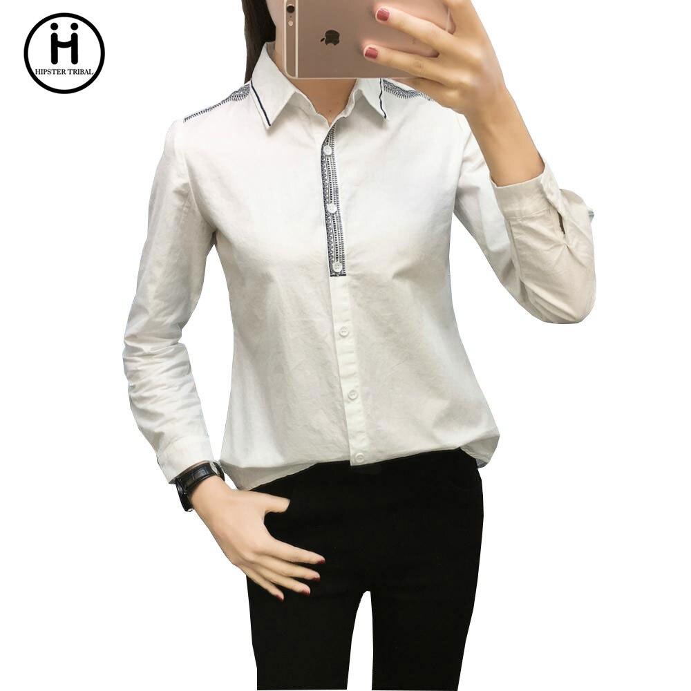 Work Wear 2017 Women Line Embroidery Shirt Femininas Tops ...