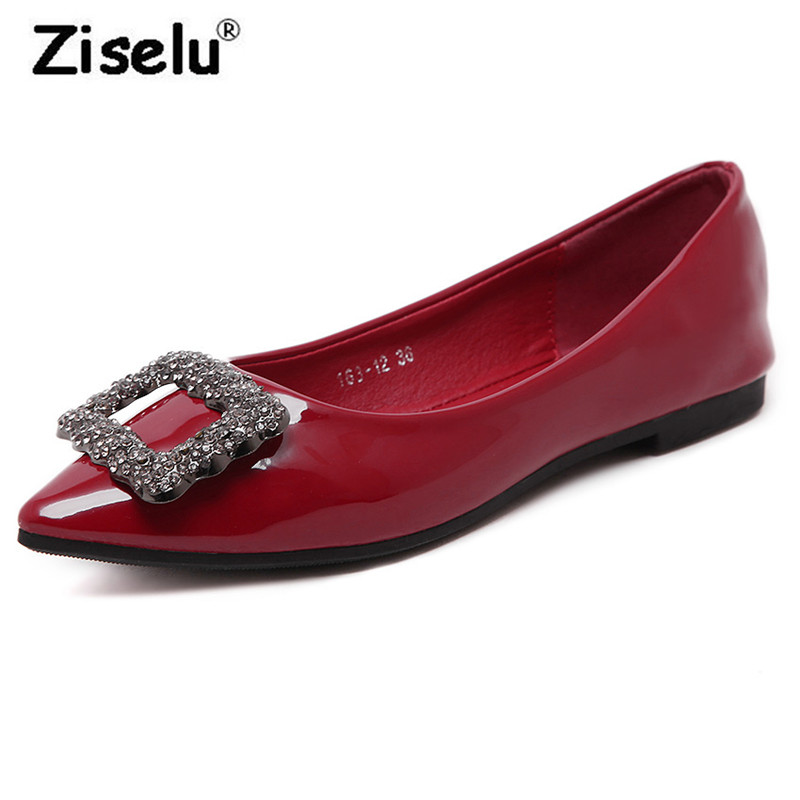 Ziselu Luxury Crystal Pointed Toe Women Flats Quality Patent Leather Shallow Comfortable Boat Shoes 2018 Spring New Fashion Flat fashion women shoes woman flats high quality comfortable pointed toe rubber women sweet flats hot sale shoes size 35 40