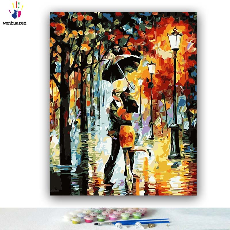 DIY Coloring Paint By Numbers Abstract Street View Couple Pictures Abstract Figure Paintings By Numbers With Kits 40x50 Framed