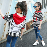Retail 1pcs Brand New Design Kids Girls Autumn Casual Striped White Hooded Tracksuit T Shirt Tee