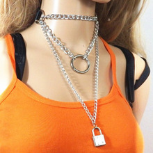 Harajuku Punk multilayer Chain necklace women black leather choker collar Gothic silver Lock O-pendant necklaces jewelry faux leather lock pendant choker necklace