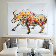 hand painted fighting bull canvas oil painting yellow strong wall art modern abstract pop picture office decor