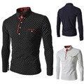 New 2014 Spring Hot Fashion Mens Polka Dot Shirt Slim Fit Casual Long-sleeve Social Camisa Masculina for Man Free Shipping M-XXL