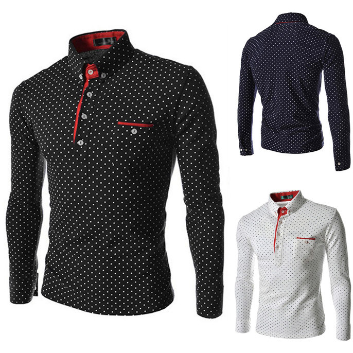 New 2014 Spring Hot Fashion <font><b>Mens</b></font> <font><b>Polka</b></font> <font><b>Dot</b></font> <font><b>Shirt</b></font> Slim Fit Casual Long-sleeve Social Camisa Masculina for Man Free Shipping M-XXL image