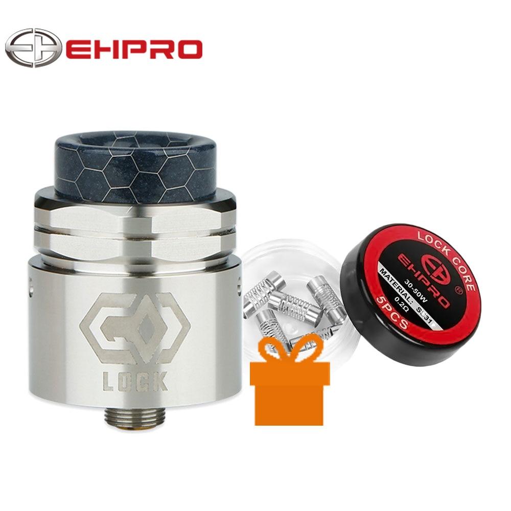 Бесплатный подарок Ehpro замок сборки-Бесплатная RDA 24 мм Диаметр одной катушки RDA с гайкой-стиль Топ Кепки и 0.15ohm Notch катушки и Ehpro замок Core