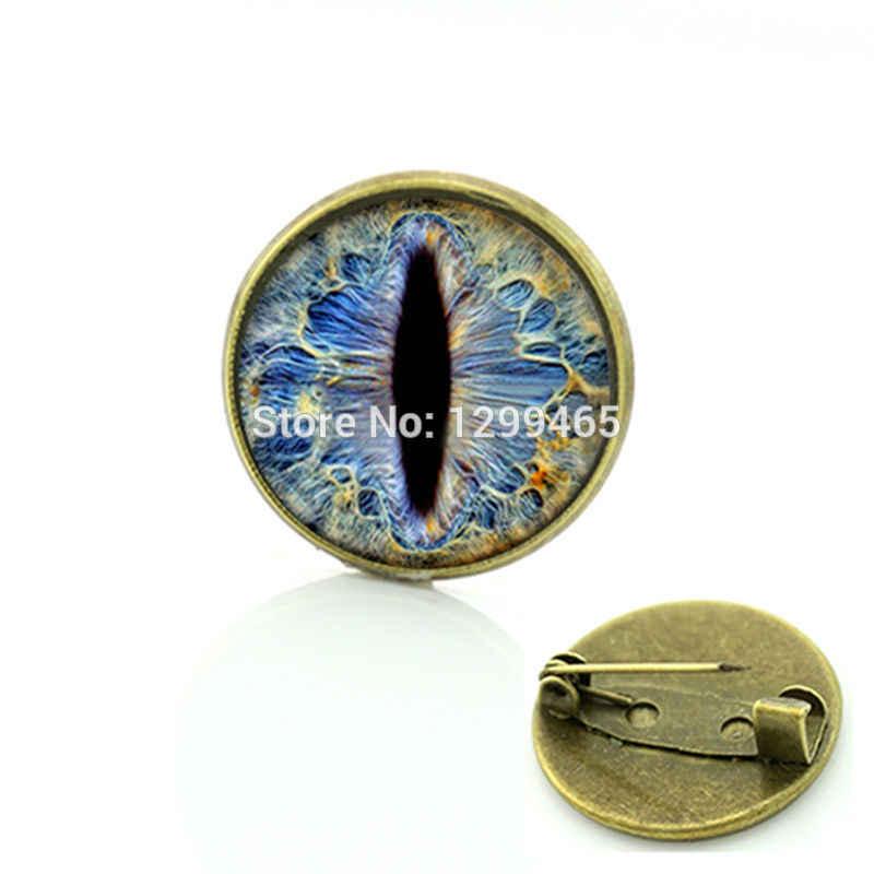 Souvenir Hadiah Frost Dragon Eye Bros Naga Perhiasan Bola Mata Pin Perhiasan Gambar Seni Kaca Cabochon Dome Medali C 542