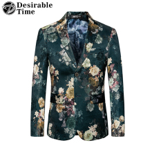 Desirable Time Autumn New Men's Slim Fit Floral Blazer Jacket Big Sizes M-6XL Casual Blazers for Men DT103
