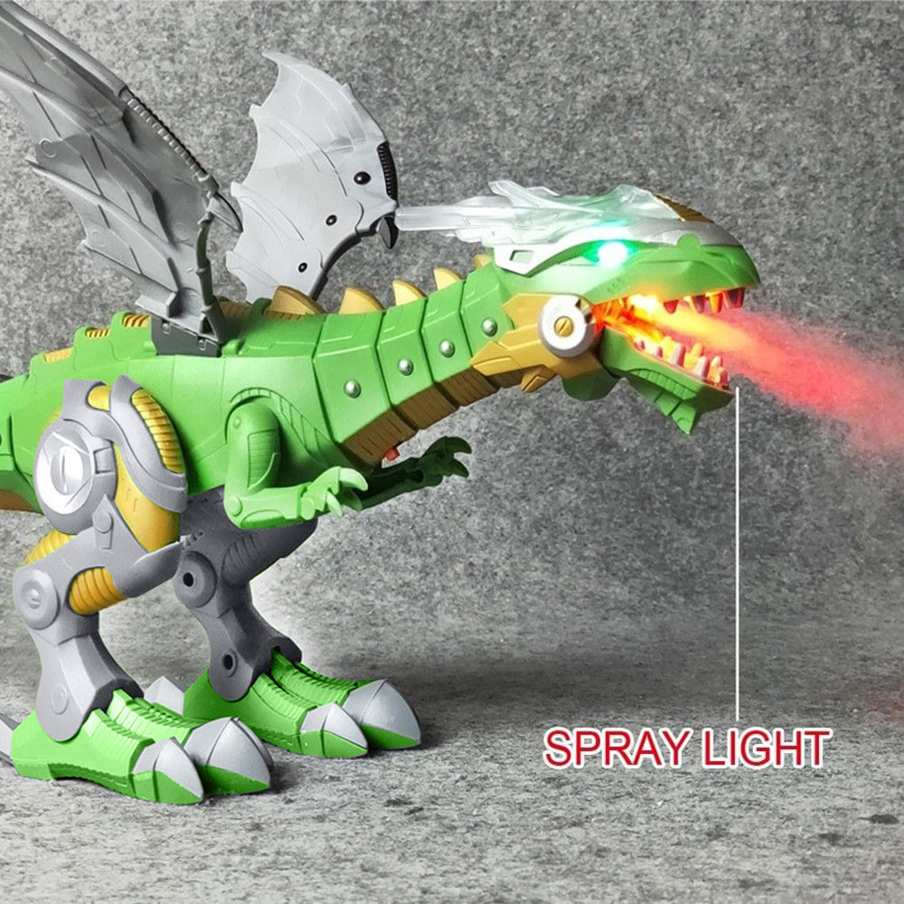Electric Interactive Walking Fire Dragon Toy Fire Breathing Water Spray Dinosaur Boy Kids Toy Christmas Gift Electronic Pets #D7