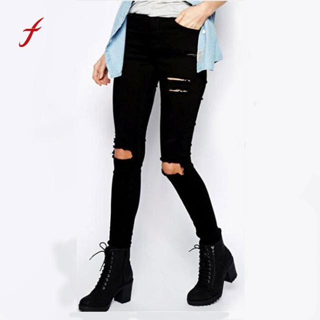 21fd98bb086 Women Cool Ripped Knee Cut Skinny Long Jeans Pants Slim Pencil Trousers  Pencil Jeans Denim Stretch