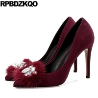 Autumn Crystal Female Big Size High Heels 10 42 Stiletto Suede Modern Prom Fur Rhinestone Pointed Toe Wine Red 11 43 Women Dress