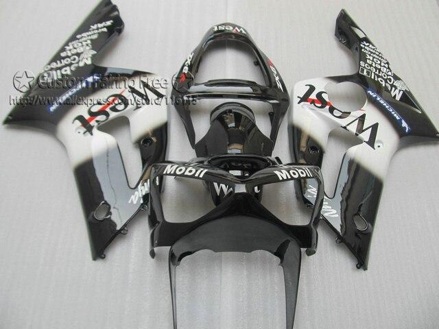 Injection molding fairing kit for Kawasaki ZX6R 2003 2004 Ninja 636 black white West abs fairings bodywork 03 04 ZX-6R ZK11