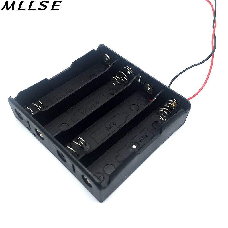 Mllse Пластик 3.7 В клип 18650 держатель черный Цвет 18650 ящик для хранения чехол с 6 «Провода привести для 4X18650 Батареи