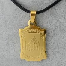 Gold Tone Muhammad Prophet Allah Pendant & Rope Chain,Arabic Islam Muslim Jewelry Women,Human Messenger
