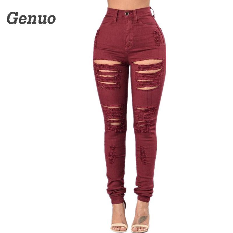 Genuo Women`s Distressed red Mid High Waist Stretch Denim Pants Ripped Skinny Jeans Woman Curvy Jean pantalones de mujer image