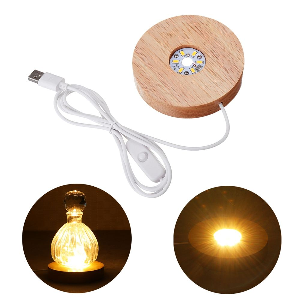 Wood Lamp Base White Light Rechargeable Remote Control Wood LED Light Rotating Display Stand Lamp Holder Lamp Base