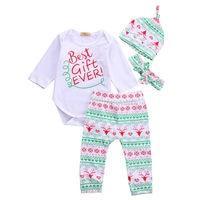 Baby Boys Girls Clothing Christmas Gift Outfits Bodysuits Long Sleeve Deer Pants Hat Headband Infant Boy