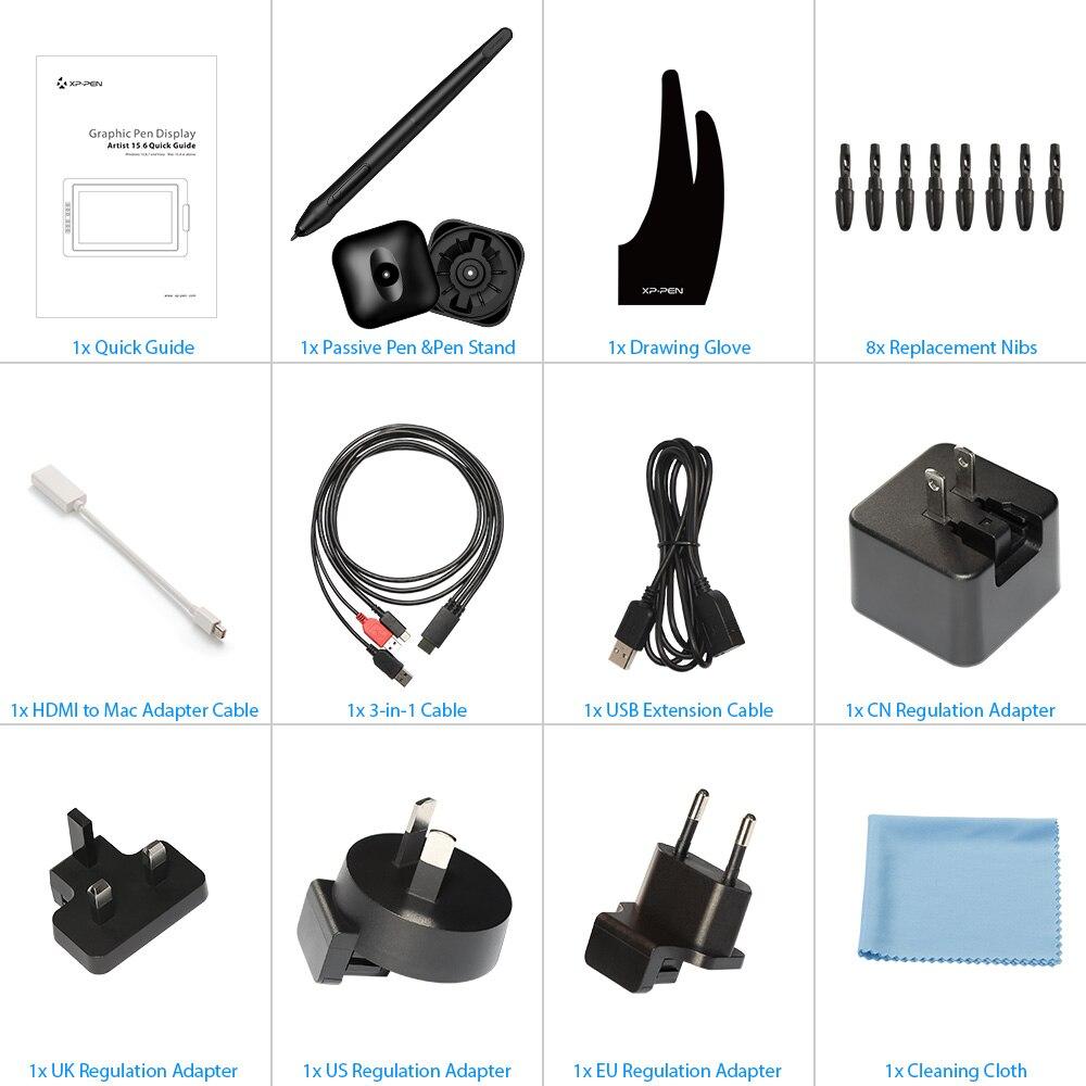 XP-PEN Tablette Graphique Moniteur Artist15.6 avec 8192 Stylet Passif sans Batterie - 6