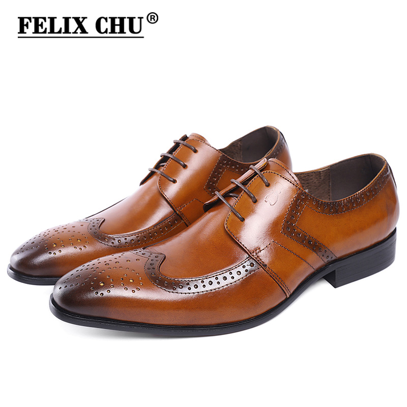 FELIX CHU Genuine Cow Leather Lace Up Men Brown Formal Brogue Dress Derby Shoes With Perforated Wingtip Detail #E7185-22 eyelet lace up detail denim jacket