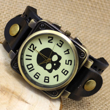 Hot Sale Black Steampunk Skull Leather Band Wristwatch Quartz Casual Watch Men Boy Bracelet Watches Dropshipping Product