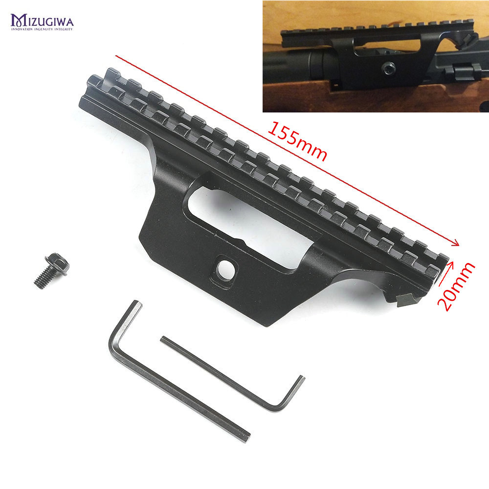 MIZUGIWA M1A M14 AK47 Tactical 15 Slots Mount Holder Guide Side Rail 20mm Weaver Base Picatinny Rail Scope Sight Adapter Rifle