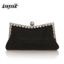 Фотография 2015 Fashion Satin Crystal Knitted Clutch Evening Bags Women Charm Handbag Party Dress Accessories 7 colors High Quality New