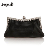 2015 Fashion Satin Crystal Knitted Clutch Evening Bags Women Charm Handbag Party Dress Accessories 7 Colors