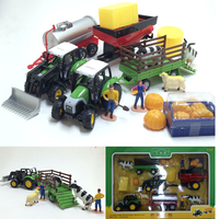 Tractor tank truck cow transport truck farm set children's toy car model W76