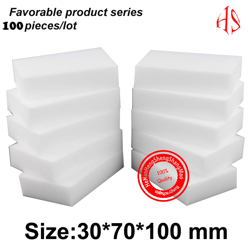 100PCS Large High Density White  Magic Sponge Melamine Sponge Eraser Home / Office Cleaning Sponge  Kitchen Cleaners 10*7*3 cm