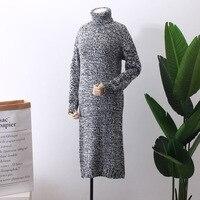2018 Blusas De Inverno Feminina Jumper Knitting Dress Winter New Pattern Woman Long Fund Skirt Sweater Pullovers Turtleneck