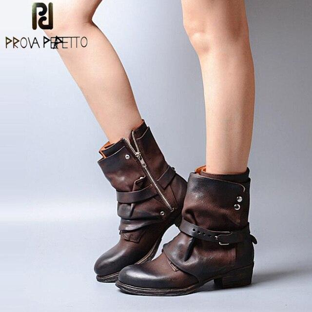 Prova Perfetto Giày Phụ Nữ của Khóa Xe Máy Ankle Boots Chivalrousness Ngắn Khởi Động Quân Sự Genuine Leather Shoes Women Flats