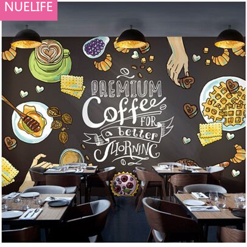 0.53x10m Milk Tea Dessert Shop 3D Fresco Nostalgic Cafe Western Restaurant Background Wallpaper Continental Retro Wallpaper N4 купить